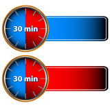 30 minutes labels. Unique icons of hours with thirty minutes Stock Photo