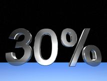 30 percent. 3d rendered numeric and percentage with space bacground Royalty Free Stock Photography