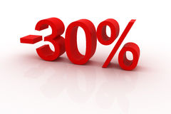 30 percent discount. Red sign showing a 30 percent discount Royalty Free Stock Image