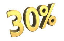 30 percent in gold (3D). 30 percent in gold (3D made Royalty Free Stock Image