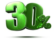 30 Percent Green 3d.with Clipping Path. Stock Photos