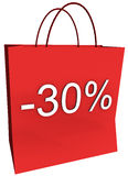 30 Percent Off Shopping Bag. Rendered shopping bag indicating 30 percent off isolated on a white background Stock Photography