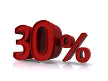 30 percent sign. 3d illustration of 30 percent sign isolated on white background Stock Photos