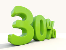 30% percentage rate icon on a white background. Thirty percent off. Discount 30%. 3D illustration Stock Image