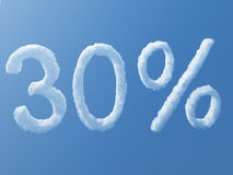 30 percentage Weather. A large cloud in the form of 30 per cent Stock Image