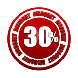 30 percentages discount 3d red circle label Stock Photography