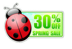 30 percentages off spring sale green label with ladybird. 30 percentages off spring sale banner - text in green label with red ladybird and white flowers Stock Image