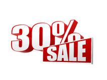 30 percentages sale in 3d letters and block Stock Photography