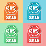 30 percentages sale, four colors web icons. Flat design, business shopping concept Royalty Free Stock Photo