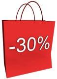 30 por cento fora do saco de compra Fotografia de Stock