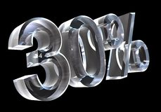 30 por cento no vidro (3D) Foto de Stock Royalty Free