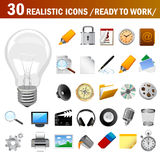 30 realistic icons. Set of realistic icons for your web design Royalty Free Stock Photo