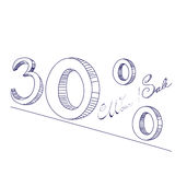 30% Sale. Universal template for greeting card, web page, background Royalty Free Stock Photo