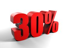 30% thirty percents. Red 3D figures - thirty percents Stock Image
