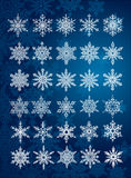 30 unique snowflakes in all / 6 different sets Stock Photos