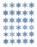 30 unique snowflakes in all /  vector. 30 unique snowflakes in all / 6 different sets Royalty Free Stock Images