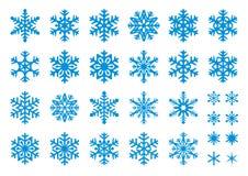 30 vector Geplaatste Sneeuwvlokken Royalty-vrije Stock Afbeelding