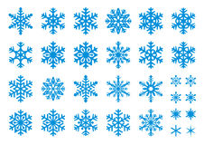 30 Vector Snowflakes Set. Set of 30 snowflakes, some with crisp edges and some with rounded angles. EPS8 Royalty Free Stock Image