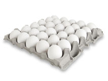 30 White Eggs Stock Photography
