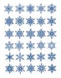 30 wszystkie płatków śniegów unikalny wektor Obrazy Royalty Free