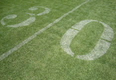 30 yard line. On fake grass at the San Francisco 49ers field at Candlestick Park in California Stock Photography