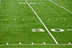 30 Yard Line. The 30 yard line on a football field Royalty Free Stock Image