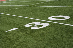 30 Yard Line On American Football Field. With artificial turf Stock Photos