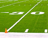 30 yard line on football pitch. 30 yard line on American football pitch Royalty Free Stock Images