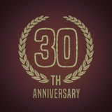 30 years anniversary vector icon, logo. Graphic design element with golden decorative branch for 30th anniversary card Royalty Free Stock Images