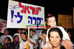 300,000 Ισραηλίτες διαμαρτύρονται το κόστος ζωής Στοκ φωτογραφία με δικαίωμα ελεύθερης χρήσης
