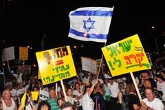 300,000 Israëliërs protesteren Kosten van levensonderhoud Stock Foto