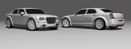 300 model. 3D 300 model car, white with chrome details, headlights lit and reflective floor Royalty Free Stock Images