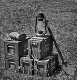 .303 Cartridge Boxes and Other Military Equipment. Monochrome for vintage feel Stock Photos