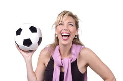 30s soccer mom. Happy mom in studio with soccer ball Royalty Free Stock Photo