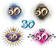 30th Birthday or Anniversary. Vector Illustration for Special Birthdays Anniversaries and Occasions. Great for t-shirt or cards Royalty Free Stock Photos
