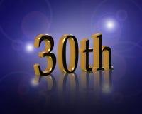 30th deltagare för årsdagfödelsedaginbjudan Arkivfoton