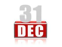 31 Dec - cijfers en brieven in blok Stock Afbeelding