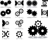 31 inställda kugghjulsymboler royaltyfri bild
