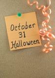 31 notatka Halloween Październik obrazy stock