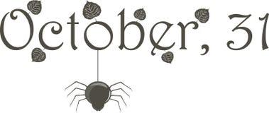 31. Oktober (Name) mit Spinne Stockfotografie