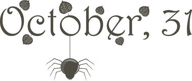 31. Oktober (Name) mit Spinne stock abbildung
