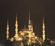 313 blauwe Moskee bij nacht Stock Foto
