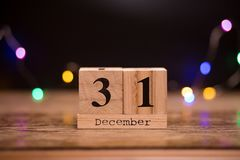 Free 31st December. Day 31 Of December Set On Wooden Calendar With Dark Background. Winter Time. Holiday Stock Images - 131150924
