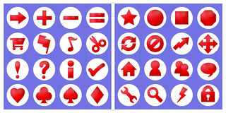 32 basic icons. Red icons in very basic shapes with subtle shading and glow. Isolated on white spots royalty free illustration