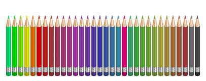 32 coloured pencils. 32 pencils on the white background. Computer 3d illustration. Pencil is a universal and ubiquitous part of business, science and school Stock Photos