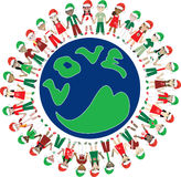 32 de Wereld van Kerstmis van de Liefde van jonge geitjes Stock Fotografie