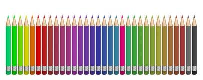 32 farbige Bleistifte Stockfotos