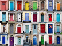 32 front doors horizontal collage. A photo collage of 32 colourful front doors to houses and homes royalty free stock photography