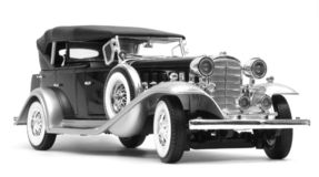 '32 greyscale Cadillac, Stock Foto