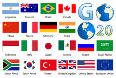 32 Industrialized country flags stock illustration
